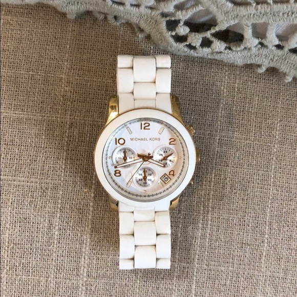 8ad5d3036f06 MK5145 Runway- white and yellow gold tone watch. NWT. Michael Kors